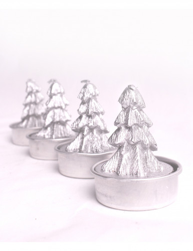 4 bougies argentées forme sapin 5 cm de hauteur
