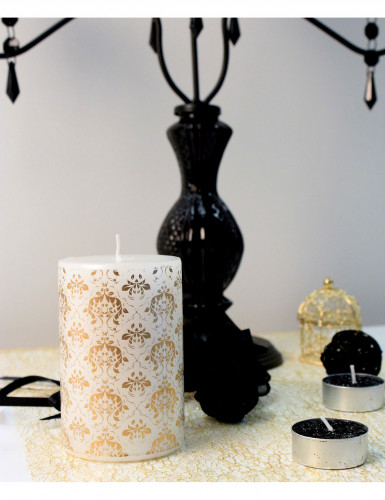 Bougie blanche motif baroque 10 cm-3