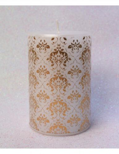 bougie blanche motif baroque 10 cm d coration anniversaire et f tes th me sur vegaoo party. Black Bedroom Furniture Sets. Home Design Ideas