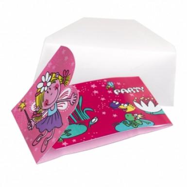 6 cartes invitation Fée rose
