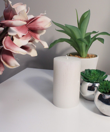 Bougie longue blanche paillettée 12 cm de hauteur-1