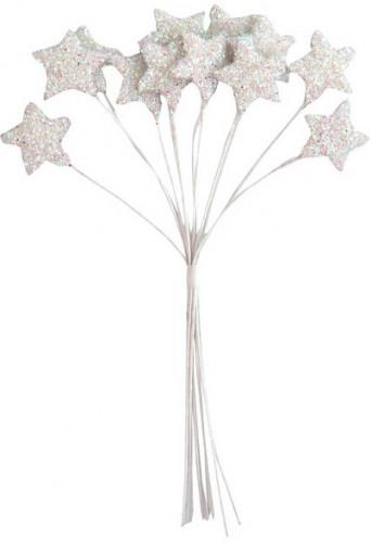 Petit bouquet 12 étoiles Blanc 11 cm
