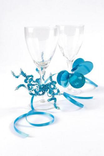 Bouquet métallique turquoise-2