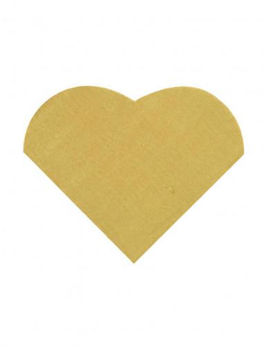 20 Petites serviettes coeur en papier doré 9 x 12 cm