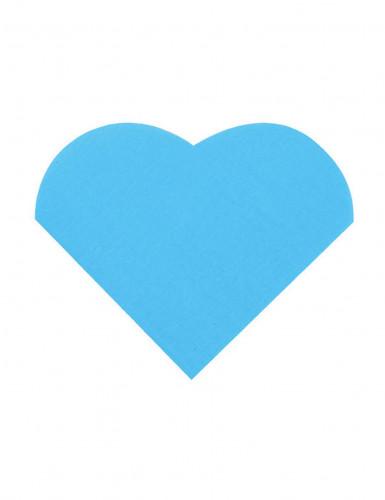 20 Petites serviettes coeur en papier turquoise 9 x 12 cm