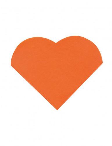 20 Petites serviettes coeur en papier orange 9 x 12 cm