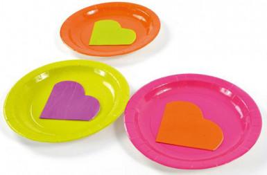 20 Petites serviettes coeur en papier orange 9 x 12 cm-1