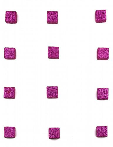12 Cubes pailletés fuchsia