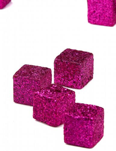 12 Cubes pailletés fuchsia-2