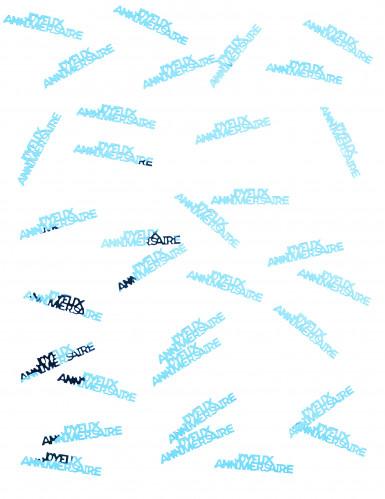 Confettis de table Joyeux Anniversaire turquoise-1