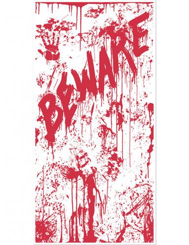 Décoration de porte en sang BEWARE Halloween