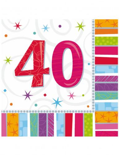 16 Serviettes en papier 40 ans 33 x 33 cm