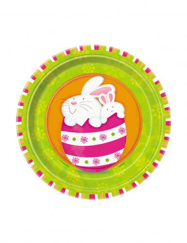 8 Petites assiettes en carton Lapin Rigolo 18 cm