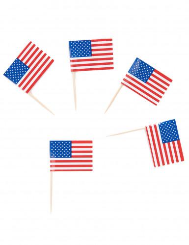 30 Pics drapeaux USA 6 cm