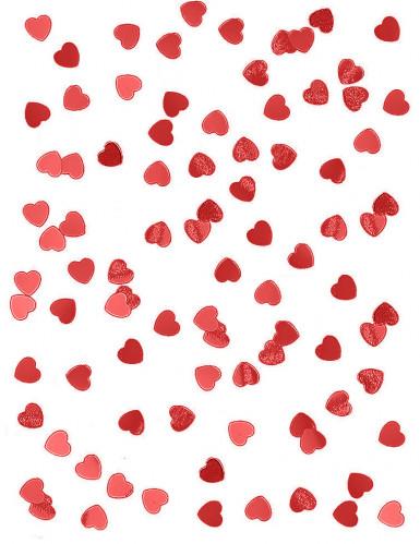 Confettis coeurs métallisés rouge