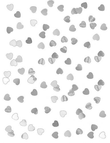 Confettis coeurs métallisés argenté
