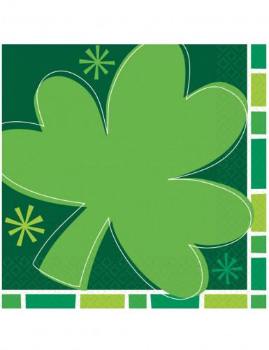 16 Serviettes en papier Trèfles Saint Patrick 33 x 33 cm