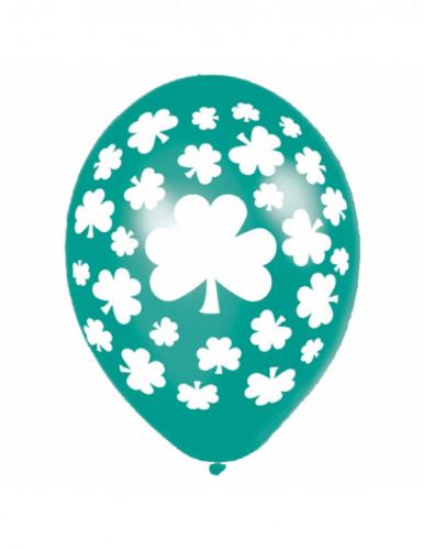 6 ballons verts trèfles Saint Patrick