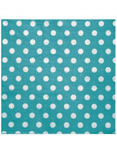 20 Serviettes en papier Turquoise pois blancs 33 x 33 cm