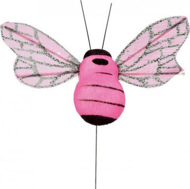 6 abeilles sur tige fuchsia