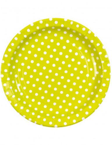 10 Assiettes vertes à pois blancs en carton 23 cm