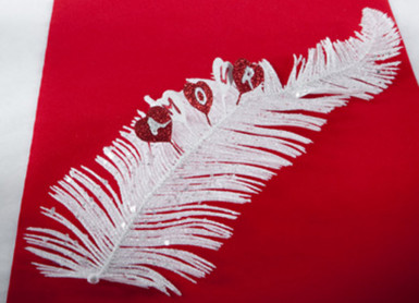 Feuille de palme blanche pailletée-2