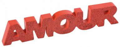Mot en bois amour rouge pailleté 12 cm