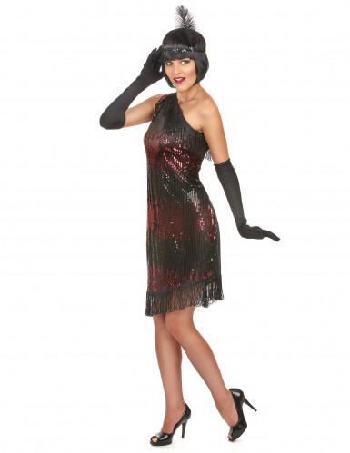 Déguisement charleston femme noir et rouge-1