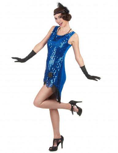 Déguisement charleston sexy femme bleu à sequins-1