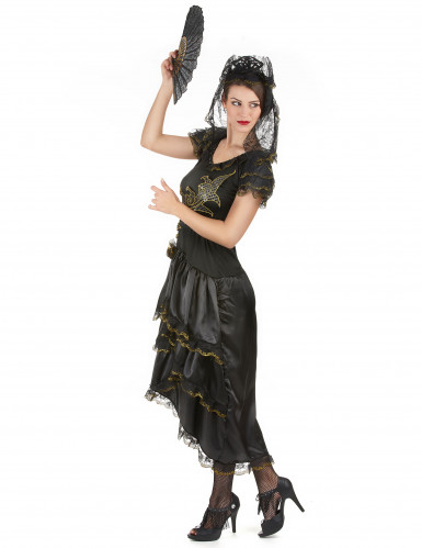 Déguisement danseuse de flamenco femme noir et doré-1