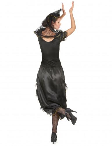 Déguisement danseuse de flamenco femme noir et doré-2