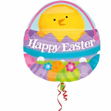 Ballon aluminium poussin et oeufs de Pâques