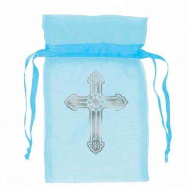 12 Sachets bleus en organza Communion