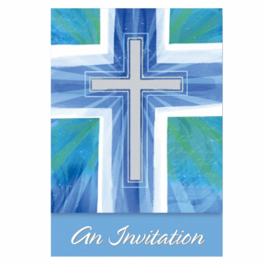 Carte d'invitation communion bleu