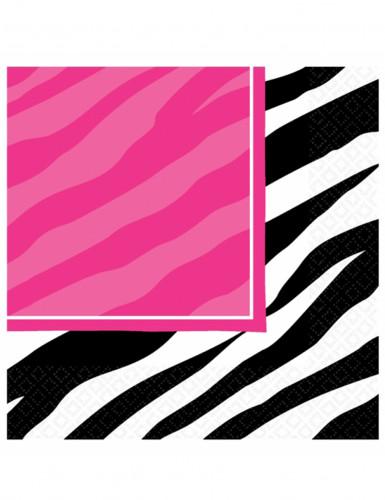 16 Serviettes en papier Zèbre rose et noir 33 x 33 cm