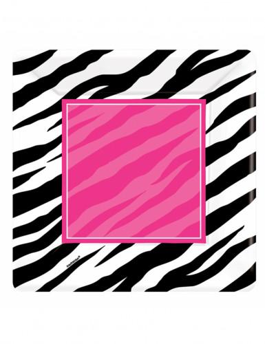 8 Assiettes carrées en carton zèbre 25 cm