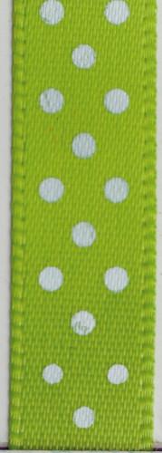 Rouleau de satin fin vert à pois blanc