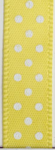 Rouleau de satin fin jaune à pois blanc