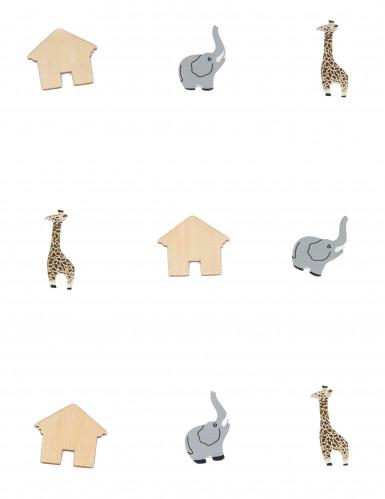 9 confettis de table bois animaux-1