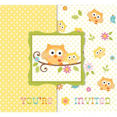 8 invitations carton Petits Hiboux