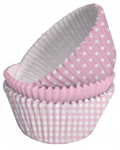 75 moules cupcake papier rose et blanc