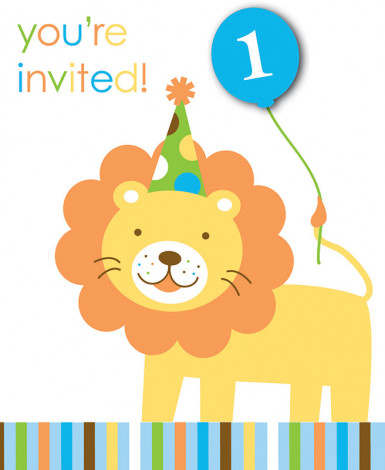 8 invitations carton Animaux Premier Anniversaire Garçon