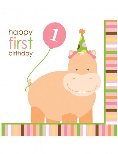 16 Serviettes en papier Animaux premier anniversaire 33 x 33 cm