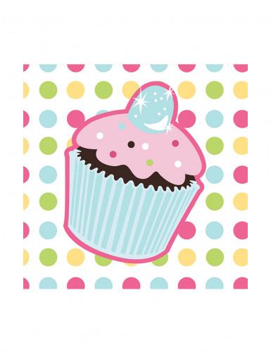16 Petites Serviettes en papier Cupcake Anniversaire 25 x 25 cm