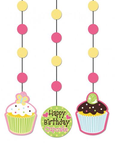 3 décorations à suspendre Cupcake Anniversaire