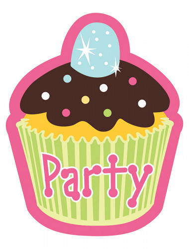 8 invitations carton Cupcake Anniversaire