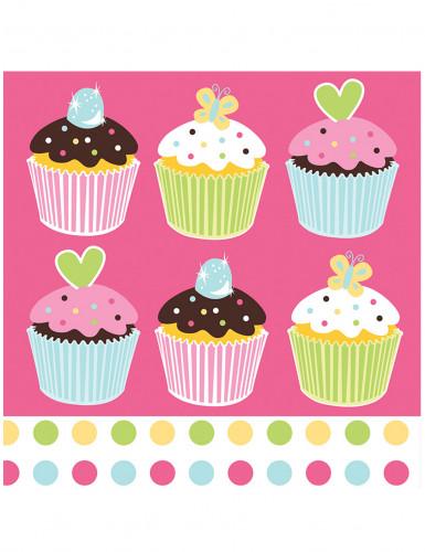 16 Serviettes en papier Cupcake Rose 33 x 33 cm