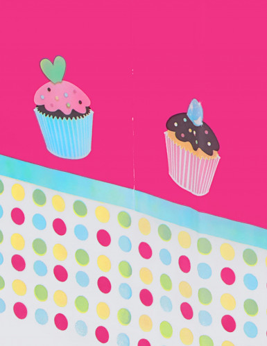 Nappe plastique Cupcake Anniversaire-1