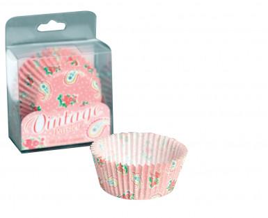 60 moules papier cupcake imprimé vintage