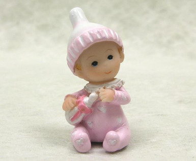 2 figurines résine bébé fille